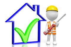 3D house construction concept. 3D cartoon character holding a screwdriver, house shape with a check-mark sign - great for topics like construction site, repair Royalty Free Stock Photos