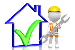 3D house construction concept. 3D cartoon character holding a wrench, house shape with a check-mark sign - great for topics like construction site, repair Royalty Free Stock Photography