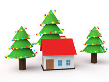 3d house with decorated Christmas trees Stock Photo