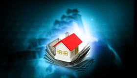 3d house with dollar. Real estate  concept background Stock Photography