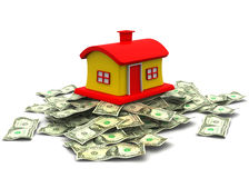 3d house on dollar Royalty Free Stock Images