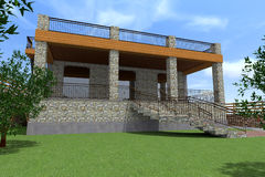 3D house draw. Ing line, exterior design, 3D home, rendering royalty free illustration