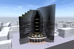 3D building render. 3D house drawing line, exterior design,  3D home, rendering residential, building, caffe, mini park Stock Image