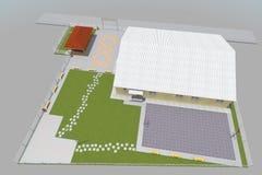 3D building render. 3D house drawing line, exterior design,  3D home, rendering residential, building, caffe, mini park Stock Images