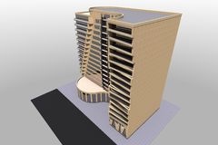 3D building render in Armenia. 3D house drawing line, exterior design,  3D home, rendering residential, building, caffe, mini park Royalty Free Stock Image
