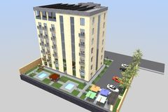 3D hotel render. 3D house drawing line, exterior design,  3D home, rendering residential, building, caffe, mini park Stock Images