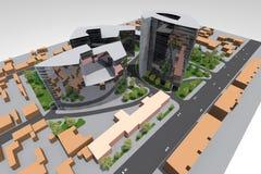 Mini Park 3D. 3D house drawing line, exterior design,  3D home, rendering residential, building, caffe, mini park Stock Image