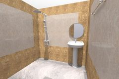 3D bathroom interior render in Armenia. 3D house drawing line, exterior design,  3D home, rendering residential, building, caffe, mini park Stock Images