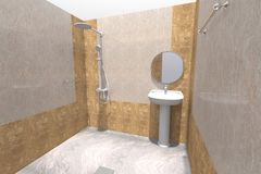 3D bathroom interior render in Armenia. 3D house drawing line, exterior design,  3D home, rendering residential, building, caffe, mini park Stock Photos