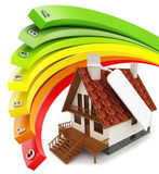 3d house Energy efficiency concept. On white background Royalty Free Stock Images