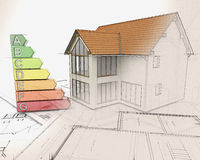 3D house and energy ratings with half in sketch phase Royalty Free Stock Images