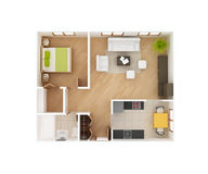 Basic 3D house floor plan top view Stock Photo