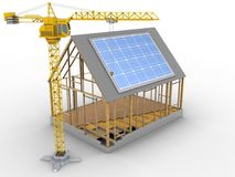 3d house frame. 3d illustration of house frame over white background with solar panel and crane Stock Photography