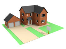 3d House and garage Royalty Free Stock Images