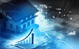 3d house with graph. Real estate growth cart Stock Photography