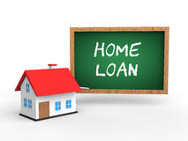3d house and green chalkboard with text home loan Stock Photo
