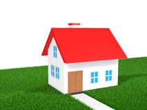 3D house in green grass Stock Image