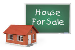 3d House with House For Sale Sign Blackboard Stock Images