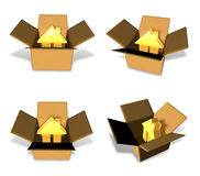 3D House icon inside a box. 3D Icon Design Series. Stock Photo