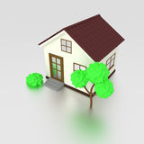 3d house icon with tree Stock Photos