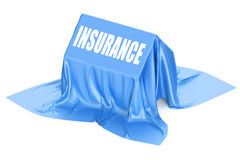 3D House Insurance concept covered blue fabric Royalty Free Stock Photos