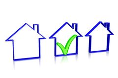 3D house insurance concept Stock Photos