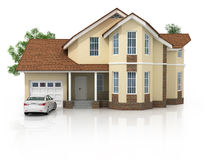 3d house isolated on white rendered generic Royalty Free Stock Photos