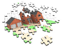 3d House jigsaw puzzle Royalty Free Stock Photo