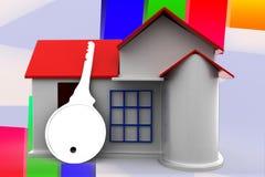 3d House Key illustration Stock Photo