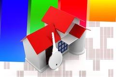 3d House Key illustration Stock Photography