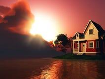 3D house by a lake against a sunset sky Stock Photos