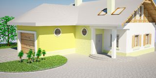 3d house. 3d max house outdoor wood Stock Photos