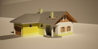 3d house. 3d max wood house shadow Royalty Free Stock Images