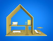 3D house model blue background. Royalty Free Stock Image