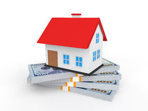 3d house on money stacks. 3d render of house on money stacks Royalty Free Stock Photo