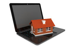 3d House over Laptop keyboard Stock Photography