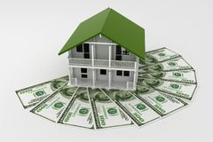 3d house on Pile of money. Conception of growth of mortgage credit.  3d illustration on white background Stock Images