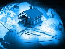 3d house on plan blueprints Stock Image