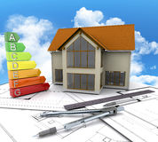 3D house on plans against a cloudy blue sky. 3D render of a house on plans against a blue cloudy sky Royalty Free Stock Image