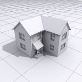 3d House plans. 3d render of a house on graph paper Royalty Free Stock Images