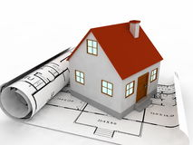 3d house on project plans. House blueprints and project visualization Stock Photo