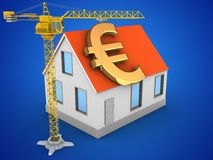 3d house red roof. 3d illustration of house red roof over blue background with euro sign and crane Royalty Free Stock Photo