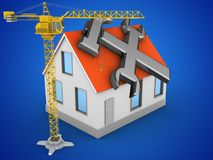 3d house red roof. 3d illustration of house red roof over blue background with repair symbol and crane Royalty Free Stock Image