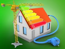 3d house red roof. 3d illustration of house red roof over green background with power ranks and crane Royalty Free Stock Photo