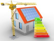 3d house red roof. 3d illustration of house red roof over white background with clean energy and crane Stock Photos