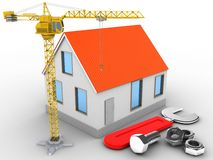 3d house red roof Stock Image