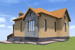3D house render in Armenia. 3D house drawing line, exterior design,  3D home, rendering residential, building, caffe, mini park Royalty Free Stock Image