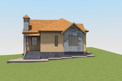 3D house render in Armenia Stock Photography