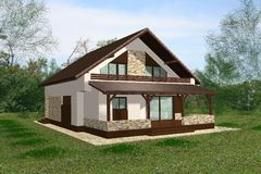 3D House Render presentation royalty free stock photo