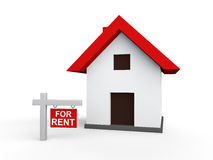 3d house with for rent sign board Royalty Free Stock Images